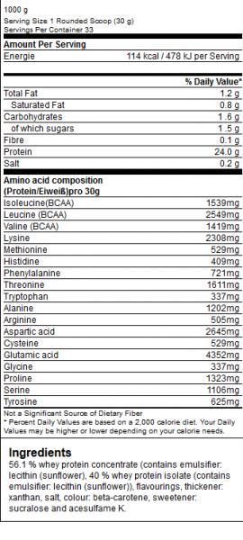 GN Laboratories 100% Dairy Whey 1000g Inhalsstoffe